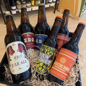 6 øl i kurv Ebeltoft Gaardbryggeri - Rise bryggeri