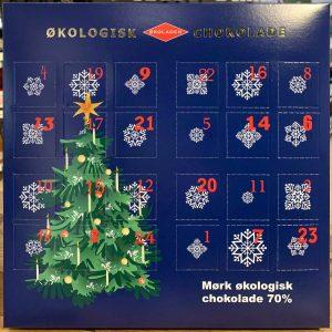 Julekalender m. mørk økologisk chokolade
