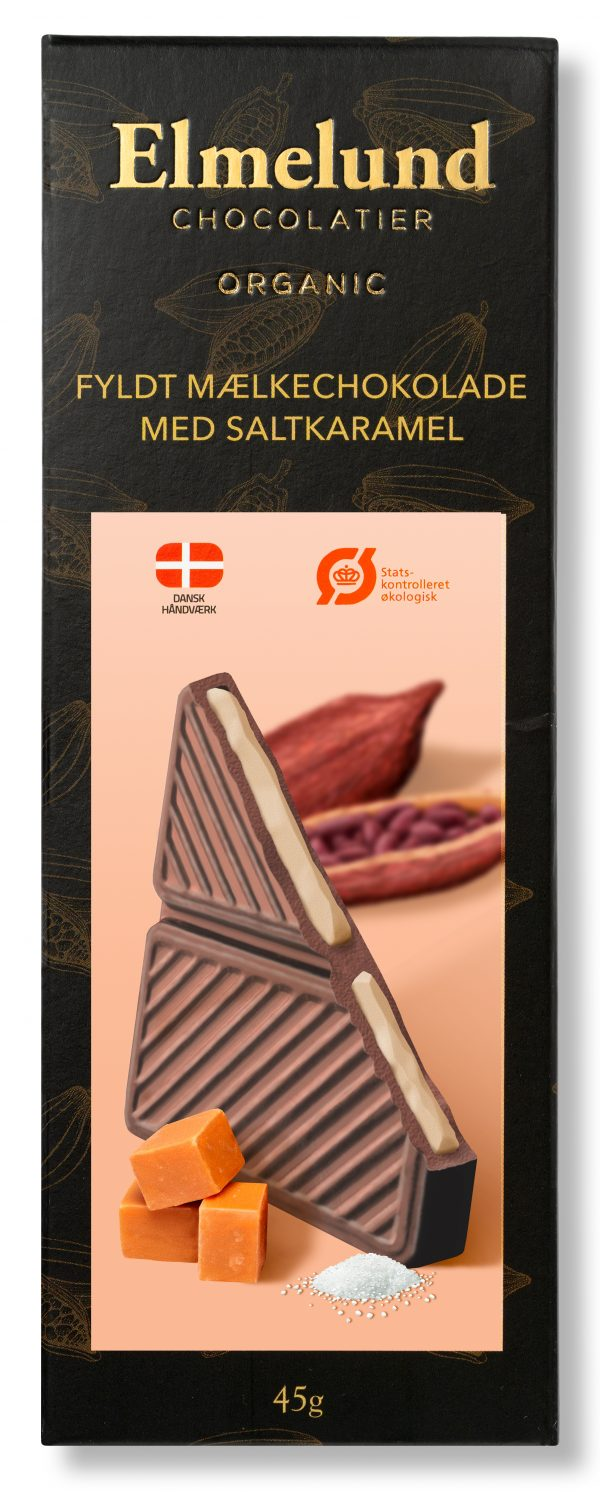 Plade lys økologisk chokolade med saltkaramel creme