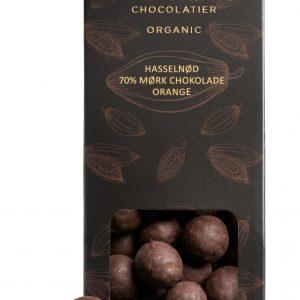 Dragéer med hasselnød mørk chokolade og orange
